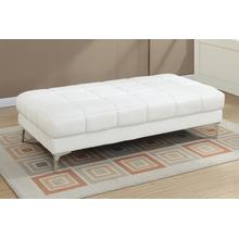 Milenia XL Cocktail Ottoman, White-bonded-leather