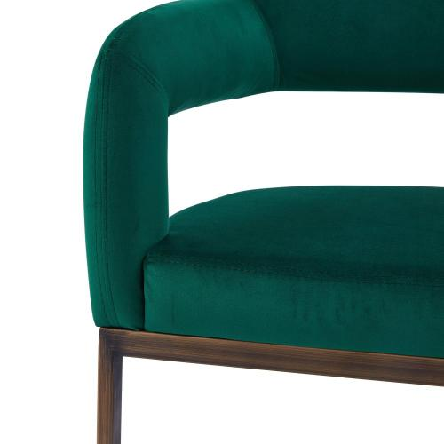 Product Image - Raquel KD Velvet Fabric Dining Side Chair Rubbed Gold Legs, Jade Green