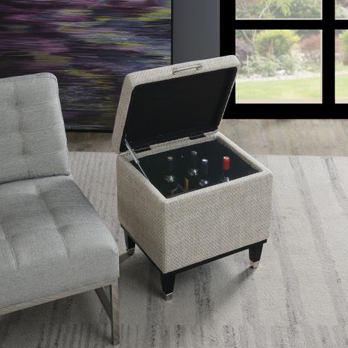 Upholstered 12-Bottle Wine Storage Ottoman in Gray Herringbone