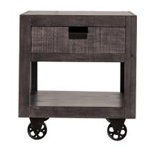 Industrial Square Storage End Table in Gray
