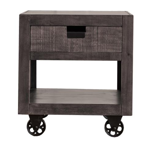 Elements - Industrial One Drawer End Table - Grey