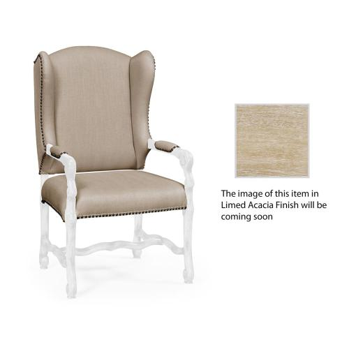 Upholstered armchair in Limed Acacia