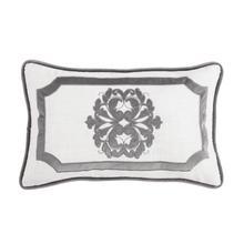 Madison Oblong White Linen Pillow W/ Velvet Embroidery. 2 Colors, 16x26 - Gray