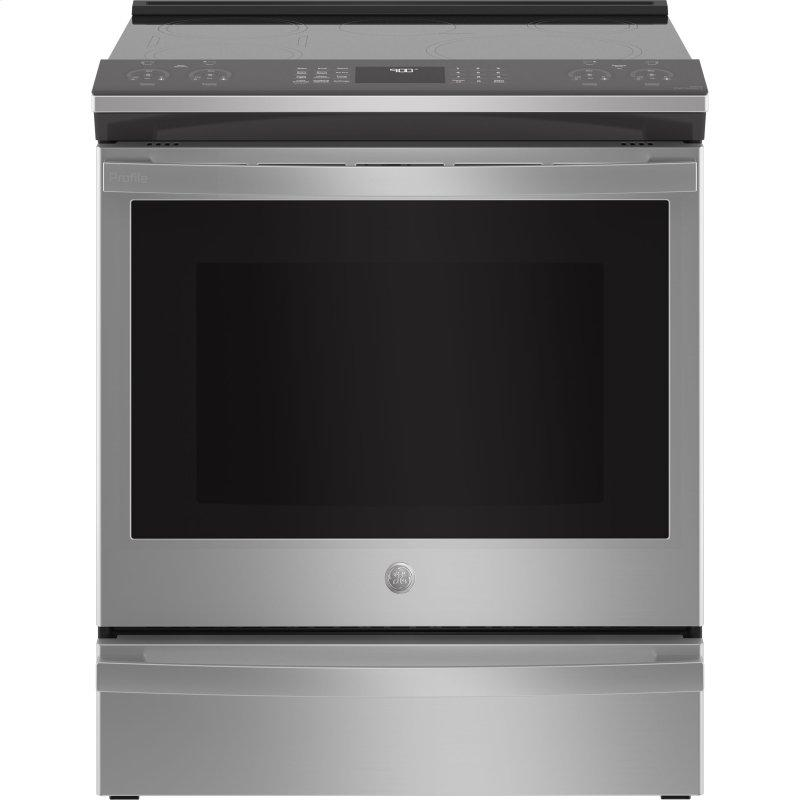 "GE Profile™ 30"" Smart Slide-In Fingerprint Resistant Front-Control Induction and Convection Range with No Preheat Air Fry"