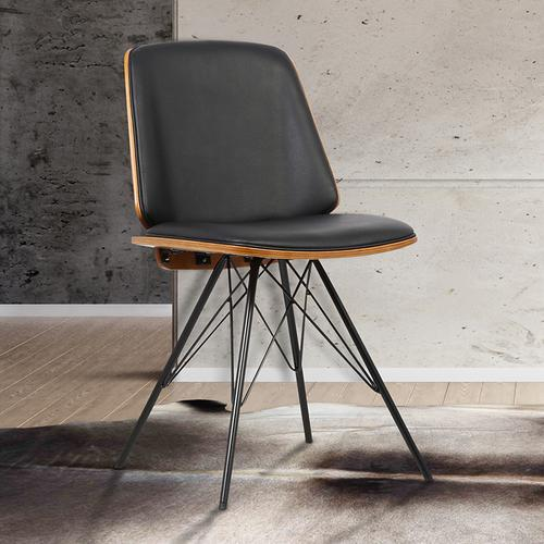 Armen Living - Armen Living Inez Mid-Century Dining Chair in Black Faux Leather with Black Powder Coated Metal Legs and Walnut Veneer Back