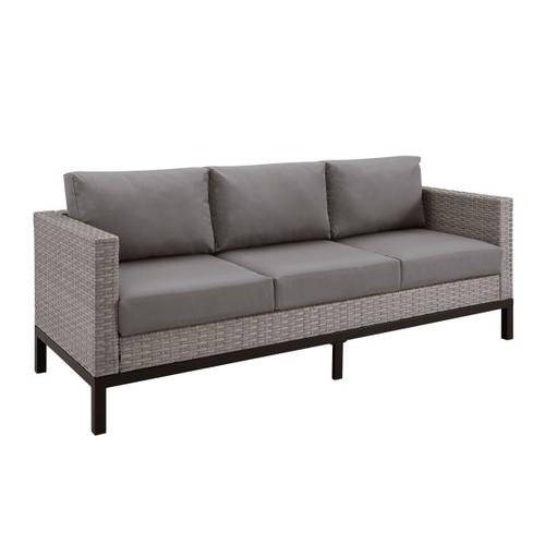 Metal Leg Wicker Finish Outdoor Sofa in Driftwood Gray (Component 2 of 2)