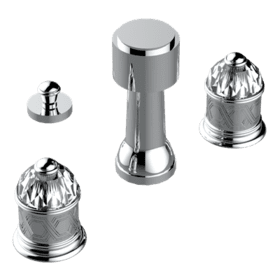 Deck mounted 3-hole bidet with vertical spray, vacuum breaker and drain