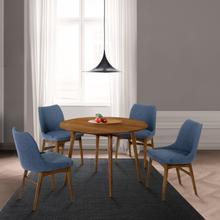 "See Details - Arcadia and Azalea 42"" Round Blue and Walnut Wood 5 Piece Dining Set"