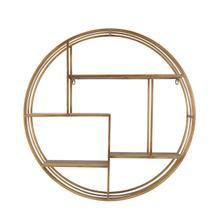 "See Details - Round 31.5"" Wood / Metal Wallshelf, Bronze"