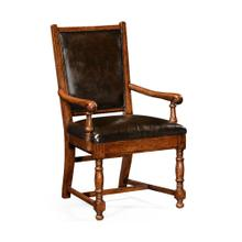 Oak country armchair antique caviar black leather upholstery