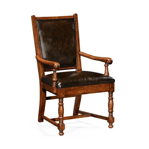 Dark Oak Country Arm Chair, Upholstered in Antique Caviar Black Leather