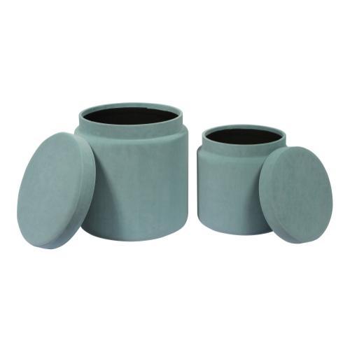 Tov Furniture - Kris Sea Blue Storage Ottomans - Set of 2