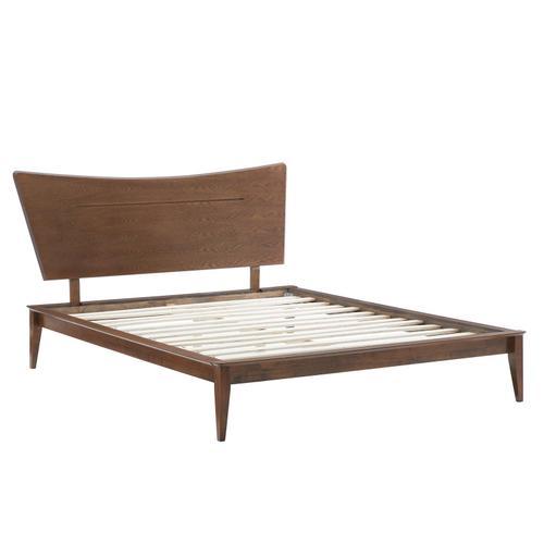 Astra Queen Wood Platform Bed in Walnut