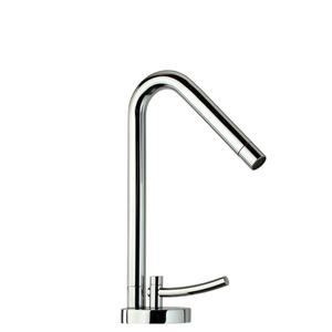 Metrohaus single-hole faucet with 45-degree swivel spout, lever handle and pop-up waste. Product Image