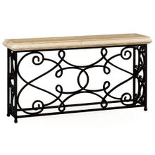 Limed wood console table with wrought iron base