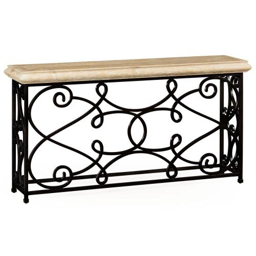 Rectangular limed wood console with wrought iron base
