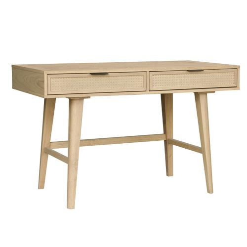 Accentrics Home - Two Drawer Cane Desk in Brown