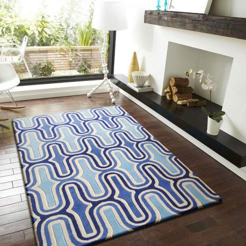 Durable Hand Tufted Transition TF36 Area Rug by Rug Factory Plus - 5' x 7' / Two-tone Blue
