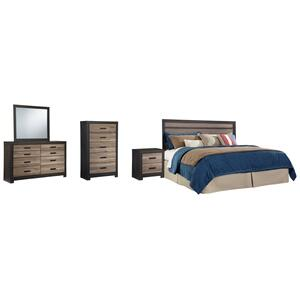 Ashley - King Panel Headboard With Mirrored Dresser, Chest and Nightstand