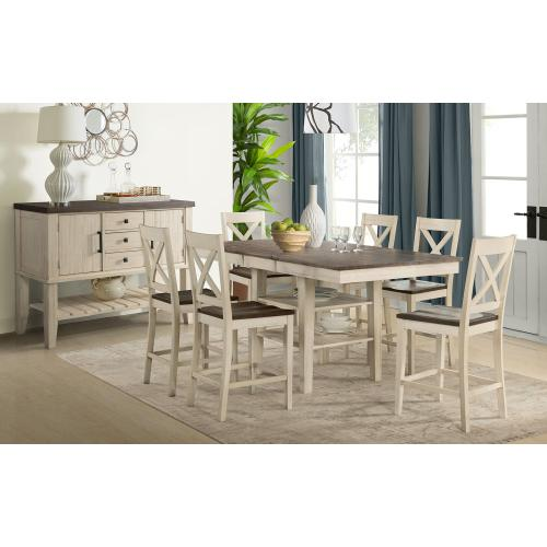 7 PIECE SET (EXTENSION PUB TABLE AND 6 BARSTOOLS)