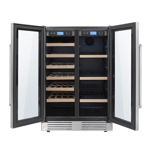24 Inch French Door Wine and Beverage Center, 21 Wine Bottle Capacity and 95 Can Capacity