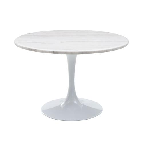 Colfax 45 inch Round White Marble Top/White Base Dining Table