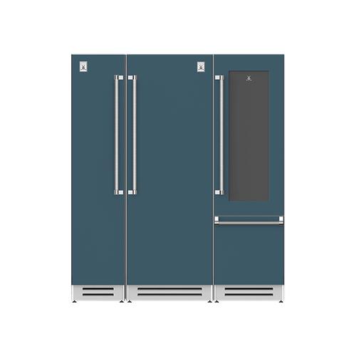 "Hestan - 72"" Column Freezer (L), Refrigerator and Wine Refrigerator ® Ensemble Refrigeration Suite - Pacific-fog"