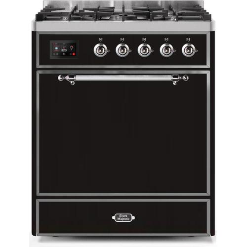 Ilve - Majestic II 30 Inch Dual Fuel Natural Gas Freestanding Range in Glossy Black with Chrome Trim