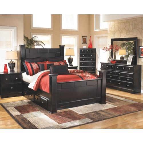 Queen Poster Bed With 2 Storage Drawers With Mirrored Dresser and Chest