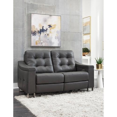 Tufted Leather Power Reclining Loveseat in Storm Gray