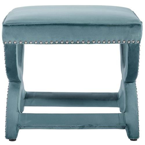 Modway - Expound Upholstered Nailhead Trim Performance Velvet Ottoman in Sea Blue