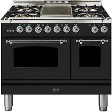 Nostalgie 40 Inch Dual Fuel Liquid Propane Freestanding Range in Matte Graphite with Chrome Trim