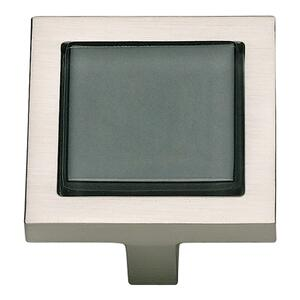 Spa Black Square Knob 1 3/8 Inch - Brushed Nickel Product Image