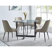 Olson 5 Piece Set(Glass Top Table & 4 Side Chairs)