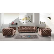 Divani Casa Delilah Modern Brown Fabric Sofa Set
