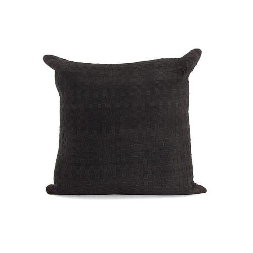Black Suede Basket Weave Leather Pillow