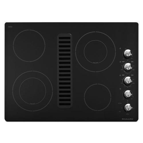 """Gallery - KitchenAid® 30"""" Downdraft Electric Cooktop with 4 Elements - Black"""