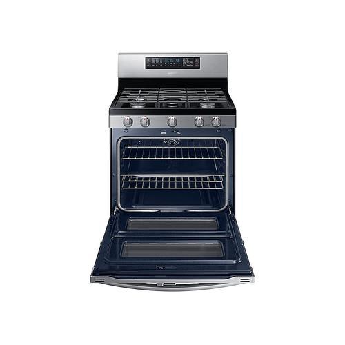 Samsung - 5.8 cu ft. Smart Freestanding Gas Range with Flex Duo™ & Dual Door in Stainless Steel