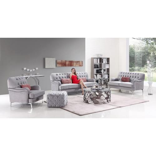 Divani Casa Michael Transitional Grey Velvet Sofa Set
