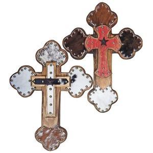 Wood/leather Cross