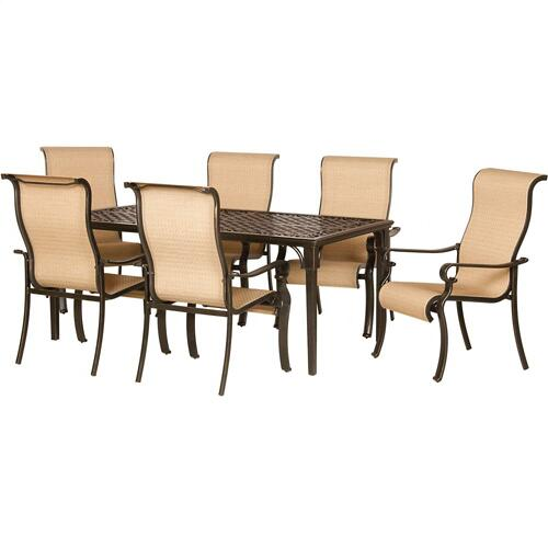 Hanover Brigantine 7-Piece Outdoor Dining Set with Cast-Top Table, BRIGANTINE7PC