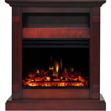 See Details - Cambridge Sienna 34-In. Electric Fireplace Heater with Cherry Mantel, Enhanced Log Display, Multi-Color Flames, and Remote Control, CAM3437-1CHRLG3