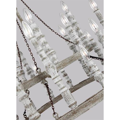 Norridge Two-Tier Chandelier Distressed Fence Board / Distressed White