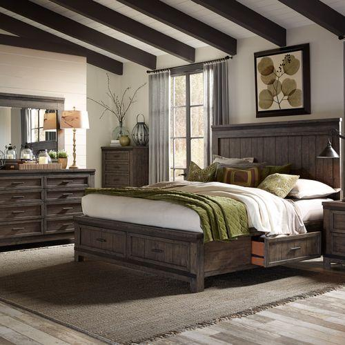Liberty Furniture Industries - Queen Two Sided Storage Bed, Dresser & Mirror, Chest