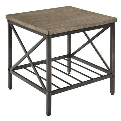 Standard Furniture - Brendon 3-Pack Accent Tables, Distressed Toffee Top with Black Metal Base