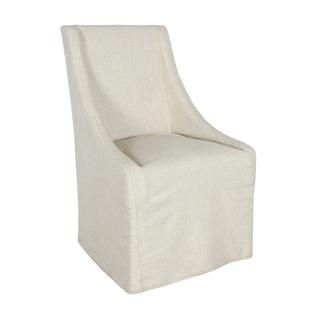 See Details - Warwick Upholstered Rolling Dining Chair Oatmeal