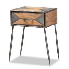 See Details - Baxton Studio Laurel Rustic Industrial Antique Grey Finished Metal and Whitewashed Oak Brown Finished Wood 1-Drawer Nightstand