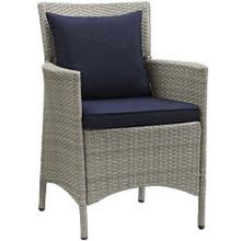 Conduit Outdoor Patio Wicker Rattan Dining Armchair in Light Gray Navy