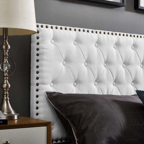 Helena Tufted King and California King Upholstered Linen Fabric Headboard in White