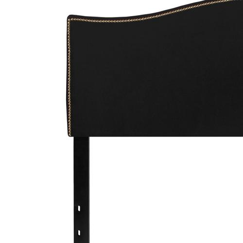 Lexington Upholstered Queen Size Headboard with Accent Nail Trim in Black Fabric